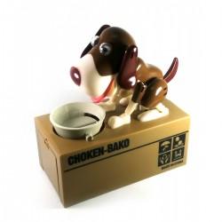 Копилка Голодная Собака на батарейках коричнево-белая