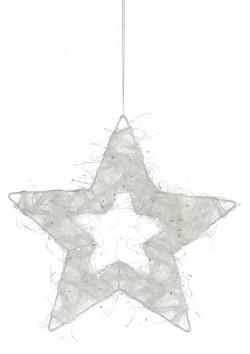 Украшение декоративная Звезда белая блестящая