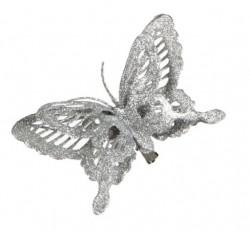 Украшение декоративная клипса Бабочка серебристая