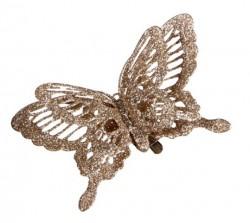 Украшение декоративная клипса Бабочка шампань