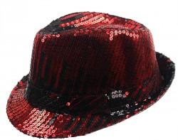 Шляпа Диско с паетками черно-красная