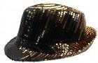 Шляпа Диско с паетками черно-золотая