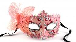 Венецианская маска с бабочкой розовая