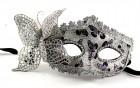 Венецианская маска с бабочкой серебро