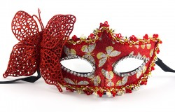 Венецианская маска с бабочкой красная