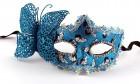 Венецианская маска с бабочкой бирюзовая