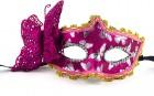 Венецианская маска с бабочкой малиновая
