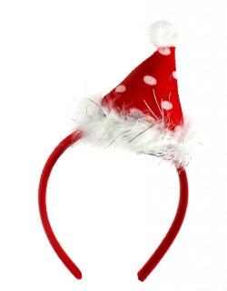 Новогодний колпак на ободке с пушком красный