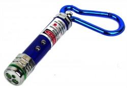 Брелок фонарик с лазерной укаской синий