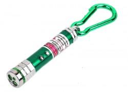 Брелок фонарик с лазерной указкой зеленый