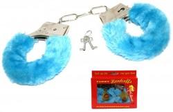 Наручники с мехом голубые