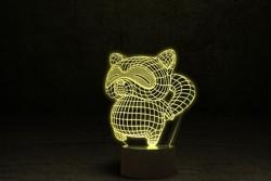 """3D Лампа детская светодиодная """"Енот"""""""