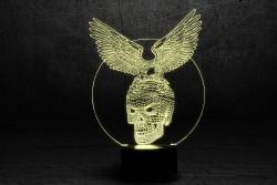 """3D светильник с сенсорной панелью (7 цветов) """"Хрустальный череп"""""""