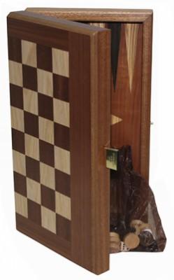 Набор Manopoulos Шахматы + шашки, красное дерево, цвет махагон, 30 x 27.5 см
