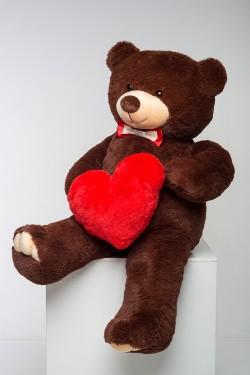 Мишка с сердцем 160 см - коричневый