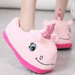 Плюшевые Тапочки Единорог с задниками Розовый