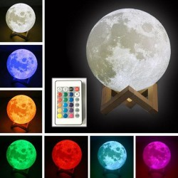 3D светильник-Ночник Луна 15 см, 16  цветов свечения