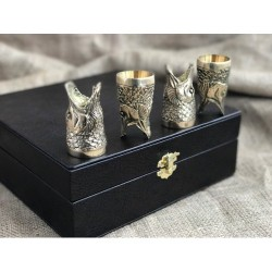 Набор бронзовых чарок Царский улов, 4шт