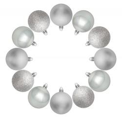 Елочные шарики House of Seasons комплект 12 шт, цвет серый