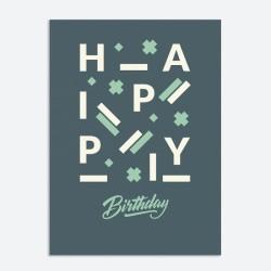 Открытка HAPPY BIRTHDAY. BLUE