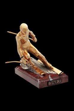 Скульптура Горнолыжник, золотой