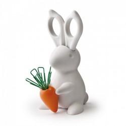 Ножницы и магнит со скрепками Desk Bunny Qualy Белые