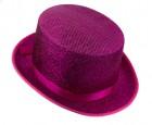 Шляпа цилиндр малиновый блестящий с лентой