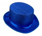 Шляпа цилиндр синий блестящий с лентой