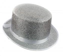 Шляпа цилиндр серебристый блестящий с лентой