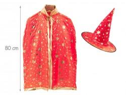 Карнавальный плащ красный с золотыми принтами + шляпа