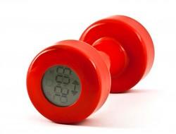 Гантеля будильник красный