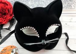 Маска Кошка со стразами