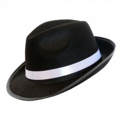 Шляпа Мужская фетр черная  с белой лентой