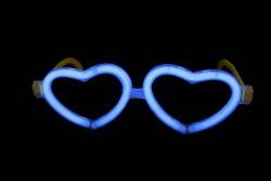 Неоновые очки Сердечки синие