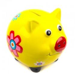 Копилка Свинка символ года с цветком 10см желтая
