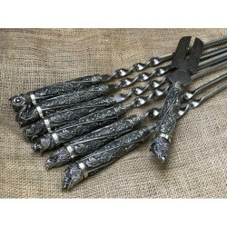 Шампура подарочные Дикие звери мельхиор с вилкой для снятия мяса