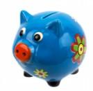 Копилка Свинка с цветком 13см голубая