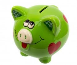 Копилка Свинка с сердечками 10см зеленая