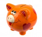 Копилка Свинка с сердечками 10см оранжевая