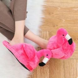 Плюшевые тапочки Фламинго, малиновые