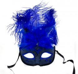 Маска венецианская с перьями синяя