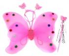 Набор крылья бабочки с цветочками розовые