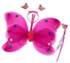 Крылья бабочки малиновые с цветочками набор