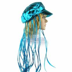 Кепка женская с косичками голубая