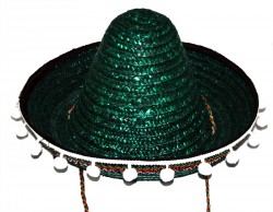 Шляпа Сомбреро с кисточками детская зеленая