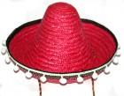 Шляпа Сомбреро с кисточками детская малиновая