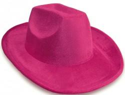 Шляпа ковбойская велюровая (розовая)
