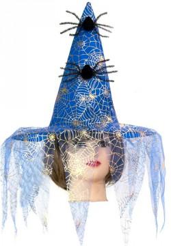 Шляпа ведьмы с пауками (синяя)