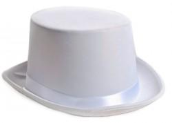 Шляпа цилиндр атласная белая