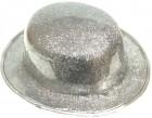 Шляпа Котелок пластик блестящая серебряная